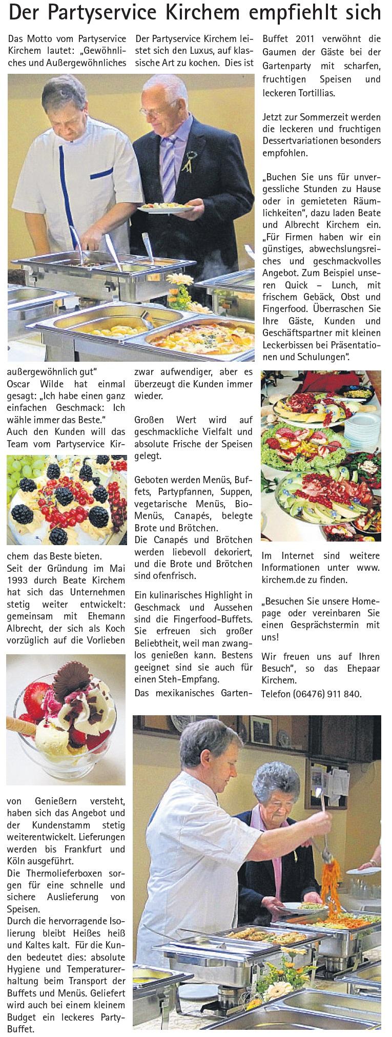 Zeitungsartikel Partyservice Beate Kirchem